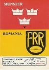 04/10/1980 : Munster v Romania