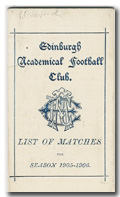 Edinburgh Academicals Fixture List 1905/06